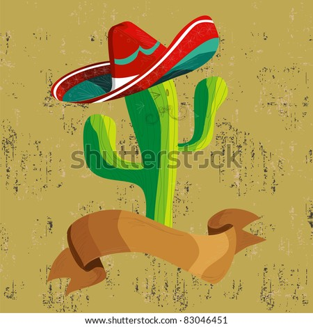 Mexican funny cactus cartoon character illustration over grunge background. Useful for menu design. - stock vector