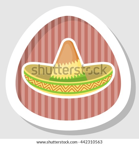 Mexican hat colorful flat icon. Vector illustration in cartoon style