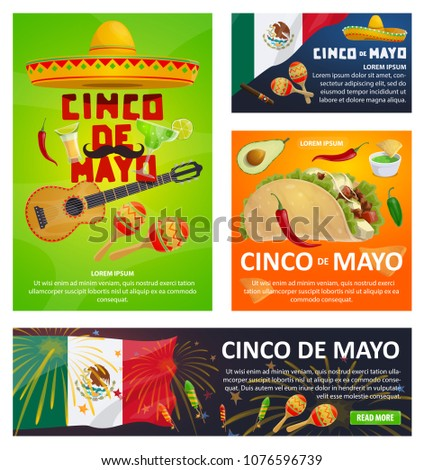 Mexican holiday greeting card set cinco stock vector hd royalty mexican holiday greeting card set for cinco de mayo fiesta party design festive sombrero hat m4hsunfo