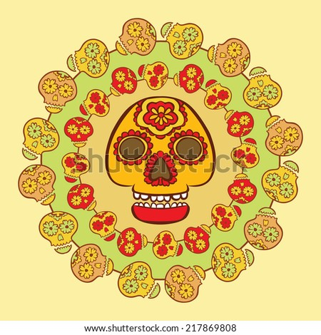 Mexican holiday symbol, drawn in bright colors - decorated calavera skull, surrounded by circles of smaller skulls  - stock vector