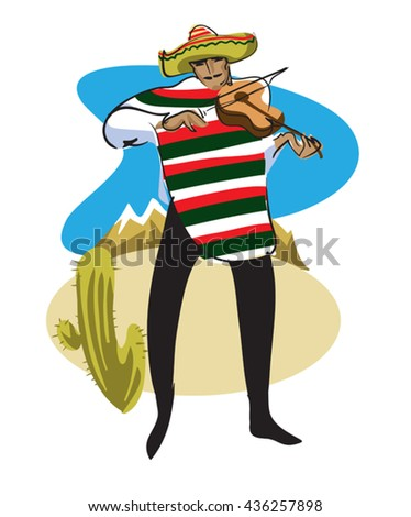 Mexican in a sombrero and poncho plays the violin - stock vector