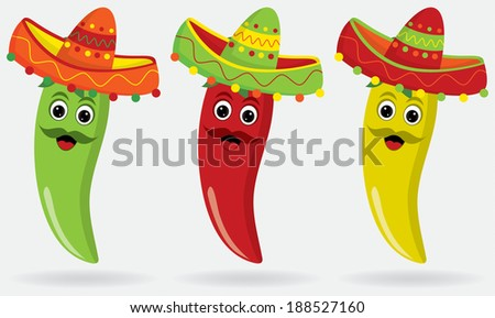 Mexican Jalape�±os in sombreros! - stock vector