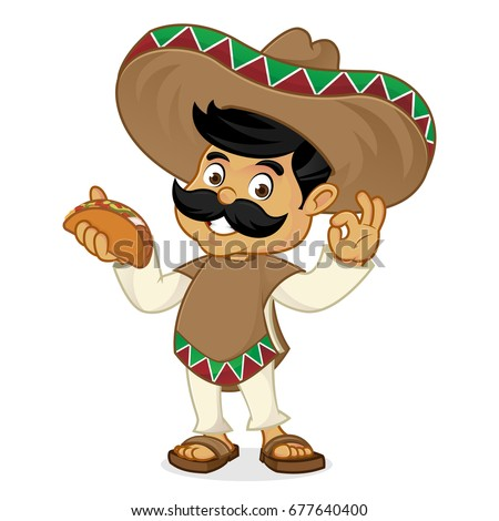mexican cartoon character stock vector 141337072