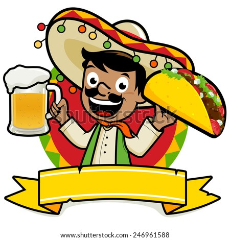 Mexican man holding a cold beer and a taco. Illustration of a Mexican man holding a cold beer and a taco. - stock vector