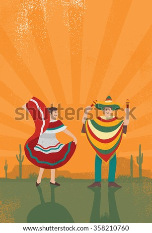 Mexican man playing maracas with woman dancing with grunge background