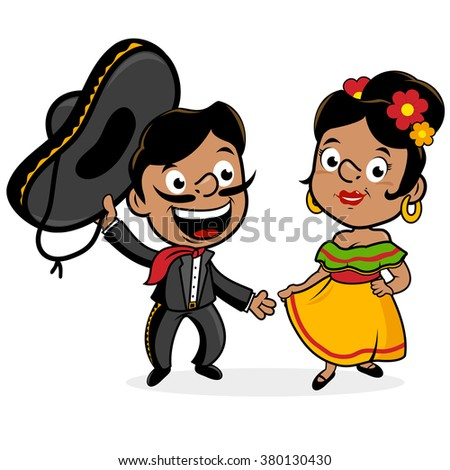 Mexican mariachi man and woman wearing a sombrero, and traditional clothing - stock vector