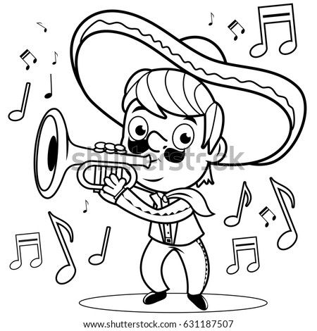 mexican mariachi man playing the trumpet black and white coloring book page