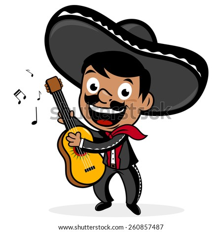 mexican mariachi man wearing a sombrero smiling singing and playing the guitar