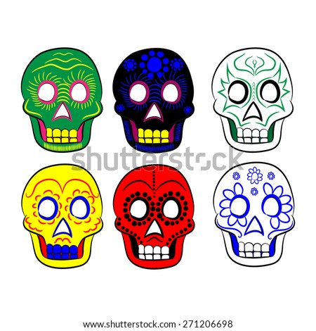 Mexican masks for cinco de mayo on a white background - stock vector