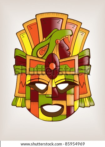 Mexican Mayan or Aztec Wooden Mask