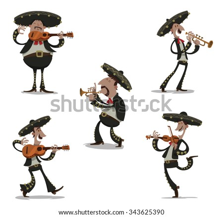Mexican musician mariachis in traditional dark clothes and sombreros playing on typical musical instrument like guitar, viola, tube. vector - stock vector