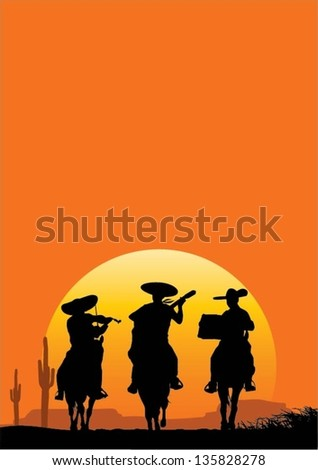 Mexican musicians riding horse and playing instruments, vector - stock vector