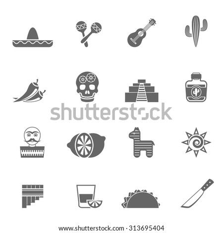 Mexican national culture symbols black icons set with sombrero lemon cocktail and cactus abstract isolated vector illustration - stock vector