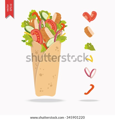 Mexican or Arabic Fast Food for your Menu Design. Kebab with pita bread, chicken, cucumber, tomato, lettuce, onion and cheese.  - stock vector