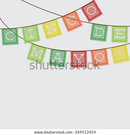 Mexican 'papel picado' (Paper flag decoration) card in vector format. - stock vector