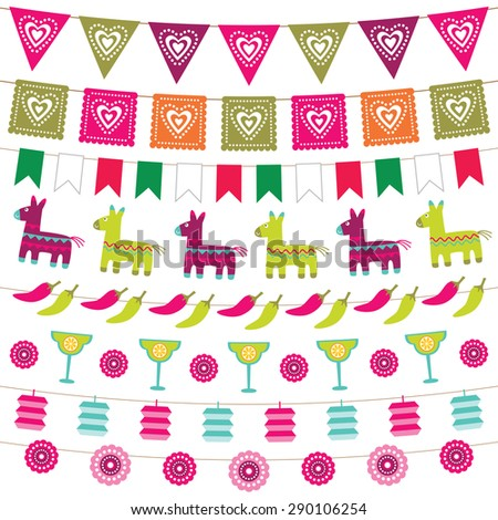Mexican party bunting flags set - stock vector