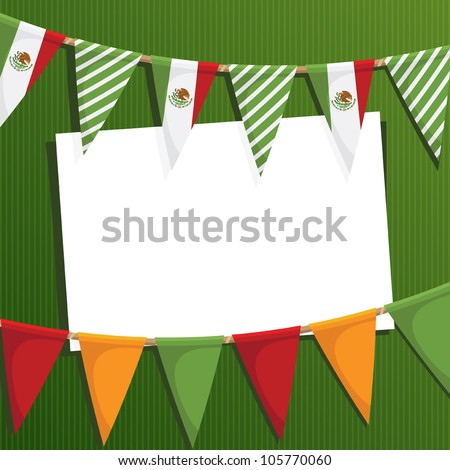 mexican party card with bunting and space for text - stock vector