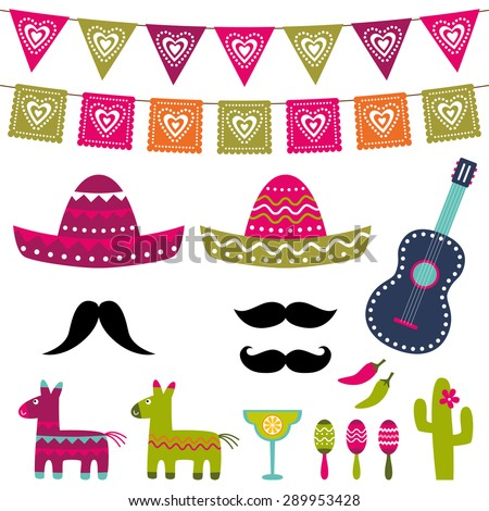 Mexican party vector decoration and photo booth props vector set - stock vector