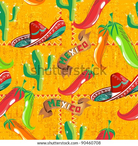 Mexican pattern with cactus, hat and chill illustration over grunge background. Vector file useful for menu design. - stock vector
