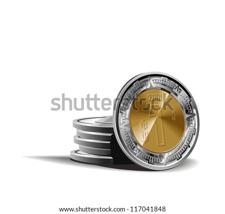 mexican peso coins vector illustration in color, financial theme ; isolated on background. - stock vector
