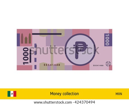 Mexican peso. Mexican peso banknote - stock vector