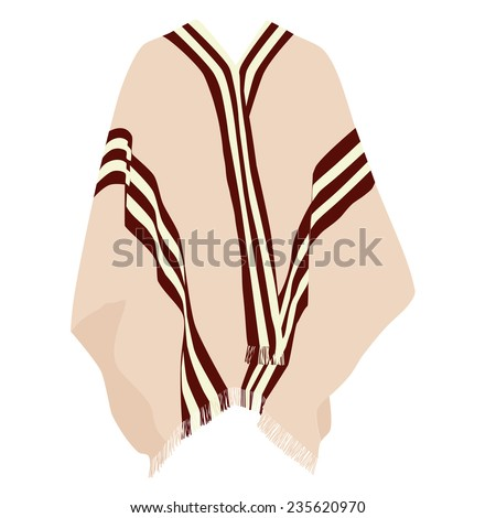Mexican poncho, poncho vector, isolated on white, vector - stock vector