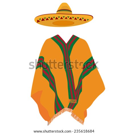 Mexican poncho, sombrero,mexico, mexican hat, vector, isolated on white - stock vector