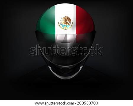 Mexican racer with flag on helmet vector closeup illustration - stock vector