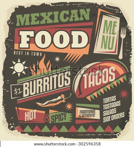 Mexican restaurant funky menu design concept. Retro Mexican food design elements collection. Vintage poster with tacos and burritos on old paper texture. No gradients and effects, just a fill colors. - stock vector