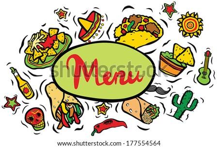 Mexican Restaurant Ingredients Menu Sign - stock vector