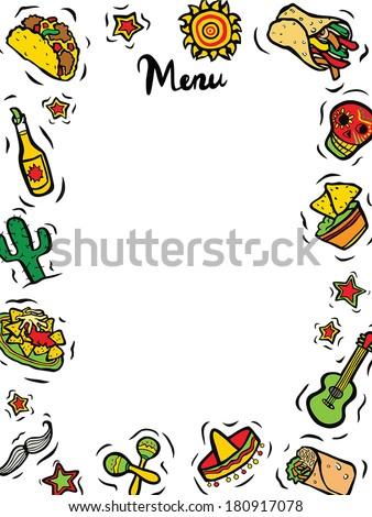 Mexican Restaurant Ingredients Menu Template - stock vector