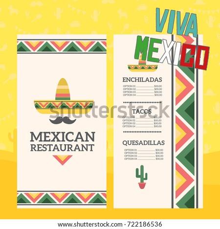Mexican Restaurant Menu Template Stock Vector 722186536 - Shutterstock