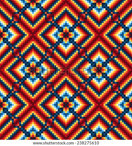 Mexican seamless colorful geometric pattern.