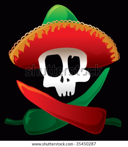 Mexican skull and peppers - stock vector