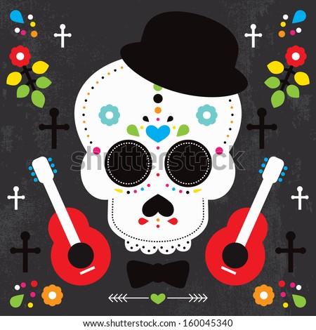 Mexican skull  dia de los muertos illustration postcard cover design background in vector - stock vector