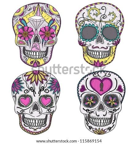 Mexican skull set. Colorful skulls. Sugar skulls. skull, skull, skull, skull, skull, skull, skull, skull, skull, skull, skull, skull, skull, skull, skull, skull, skull, skull, skull, skull, skull - stock vector