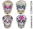 Mexican skull set. Colorful skulls with flower and heart ornamens. Sugar skulls. - stock vector