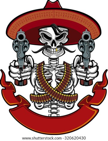 mexican skull with sombrero, pistols and ammunition belts - stock vector