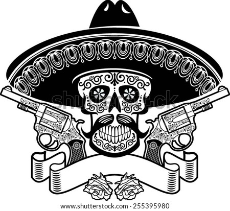 mexican skull with sombrero, roses, guns and banner - stock vector