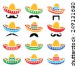 Mexican Sombrero hat with moustache or mustache icons  - stock vector