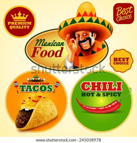 mexican sticker food - stock vector