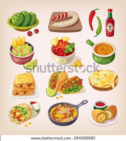 Mexican street, restaraunt and homemade food and product icons for ethnic menu - stock vector