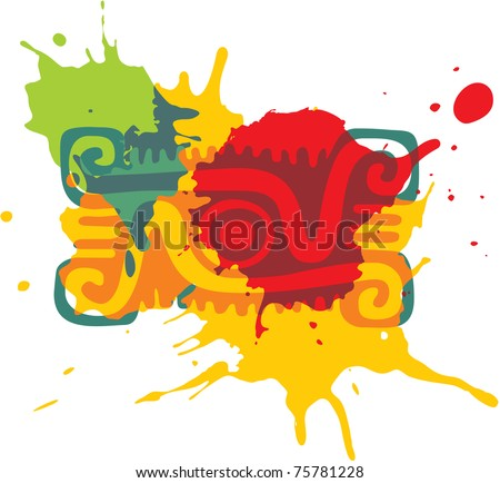 Mexican Style Design Element (paint splats) - stock vector