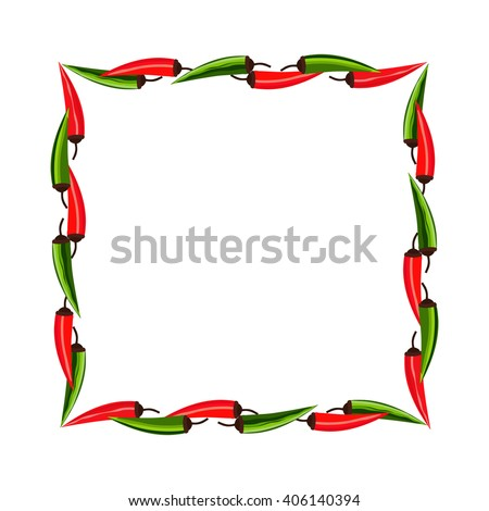 Mexican style. Mexican border Concept. Fiesta menu frame. Chili pepper ...