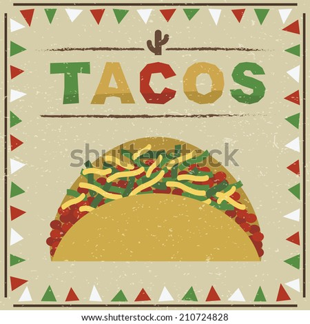 mexican styled frame with taco decoration, with transparencies - stock vector