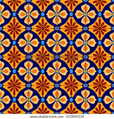 Mexican stylized talavera tiles seamless pattern in blue and yellow, vector - stock vector