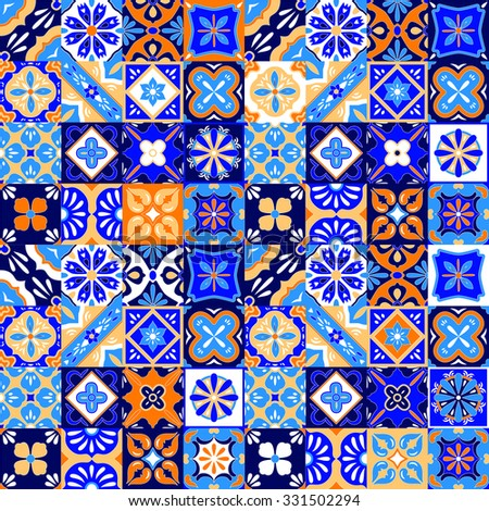 Mexican stylized talavera tiles seamless pattern in blue orange and white, vector - stock vector
