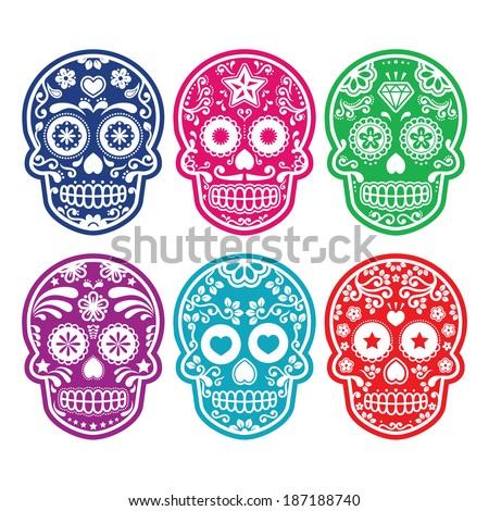 Mexican sugar skull, Dia de los Muertos colorful icons set - stock vector