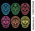 Mexican sugar skull, Dia de los Muertos icons on black  - stock vector