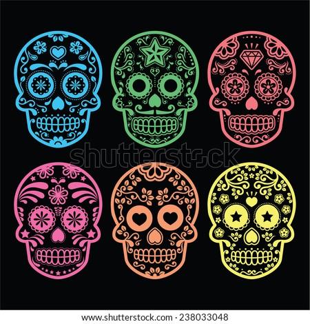 Mexican sugar skull, Dia de los Muertos icons on black  - stock vector